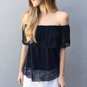 | new | lace off the shoulder top