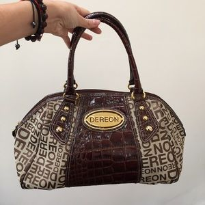 Dereon Handbags - Dereon Brown Logo Satchel Purse Bag