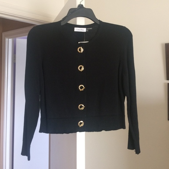 57% off Calvin Klein Sweaters - Black cardigan with gold detailed ...