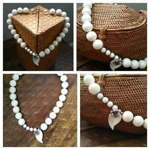 White Stone Beaded w/ Howlite Pendant Necklace