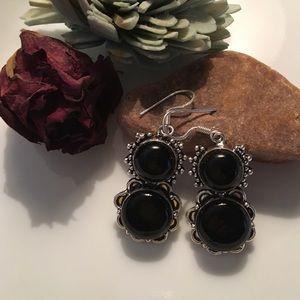 ❤️Black Onyx earrings vintage look 925