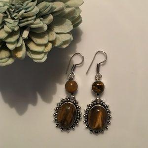 925 tigers eye earrings vintage look