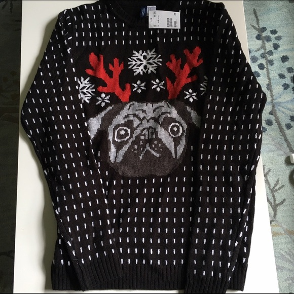 H&M Divided Men's Ugly Christmas Sweater Pug Dog