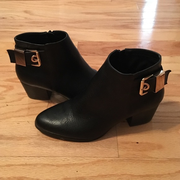 New Aldo Black Booties With Gold Buckle
