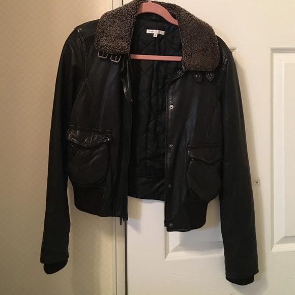 Vince Jackets Coats Sale Leather And Shearling Bomber Jacket