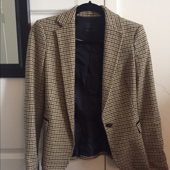 0dc26fc320227 Zara Jackets & Coats | Brown Houndstooth Blazer Elbow Patches Xs ...