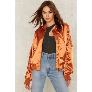 Orange Satin Bomber Jacket