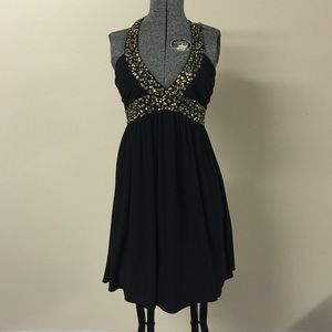 Morgan & Co. Dresses & Skirts - Black & Gold Sequin Halter Top Style Dress XS