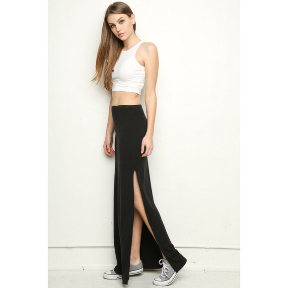 Brandy Melville - Fitted maxi skirt with slit from Elena's closet ...