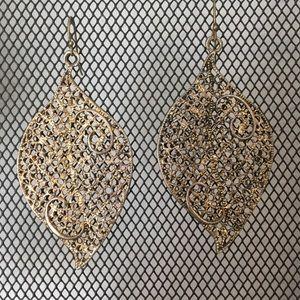 "2 1/2"" gold colored leaf earrings"