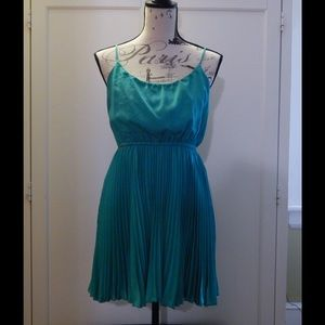 Double Zero Dresses - Teal Blue Green Pleated Dress SZ S