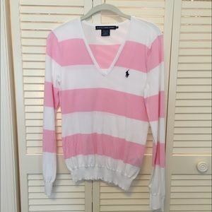  Ralph Lauren Pink and White Sweater 