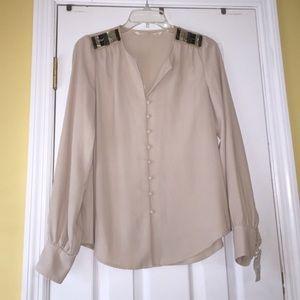 Rachel Roy Tops - Rachel Roy beaded shoulder detail cream blouse S