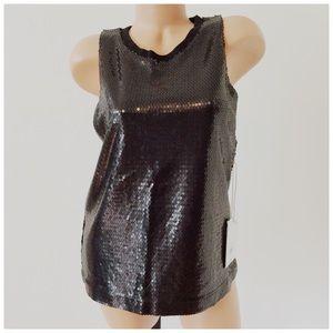One Teaspoon Black Sequin Sleeveless Top Medium