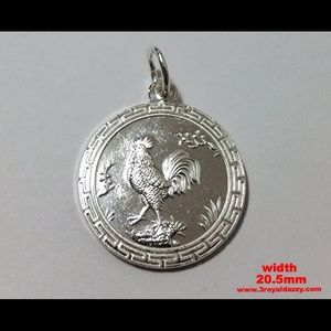 3 Royal Dazzy Jewelry - Chinese Zodiac Horoscope  Silver Rooster Pendant