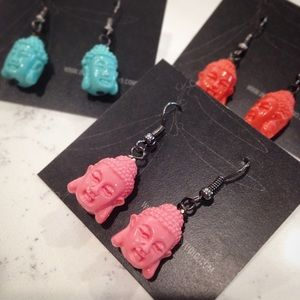 Buddha yoga  - resin earrings on black base metal