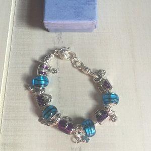 Purple Turquoise Handbag Charm Bracelet