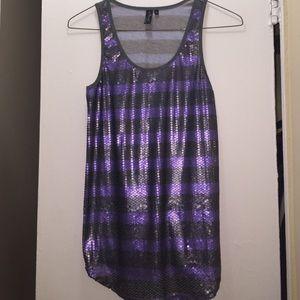 Black Poppy Tops - Sequin Purple and Grey Top