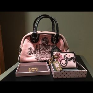 JUICY COUTURE Pink and Brown Bowler Bag and Wallet