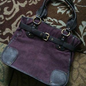 Purple faux suede purse