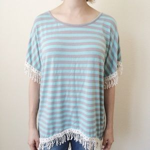 Anthropologie high-low striped shirt
