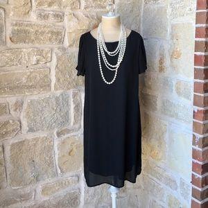 Francesca's Black Sheath Flutter Sleeve Dress