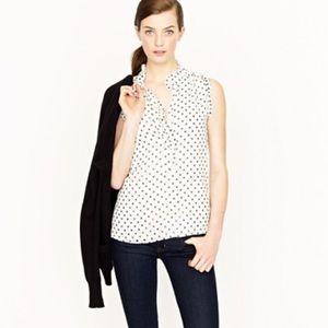 j.crew factory   sleeveless polka dot blouse.