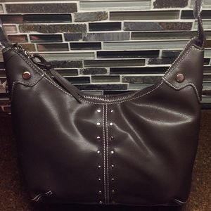 Handbags - Faux leather brown  purse silver stud trim