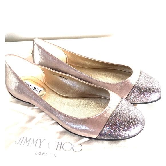 139112a352 Jimmy Choo Shoes - Jimmy Choo Whirl Glitter Cap-Toe Ballerina - NEW