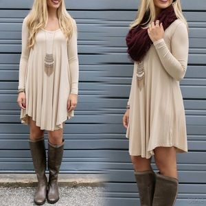 PERFECT FALL🍁Light Beige Loose Flowy Dress Tunic