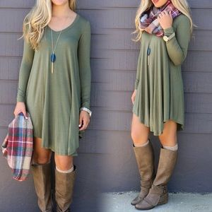 PERFECT FALL🍁Olive Loose Flowy Dress Tunic🍁