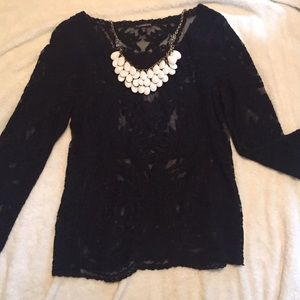 Express Black Lace Top Size XS