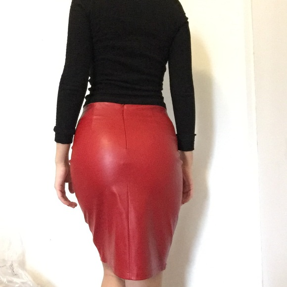 61% off Zara Dresses & Skirts - Zara red faux Leather pencil skirt ...
