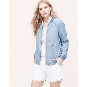 NEW LOFT Ann Taylor Chambray Bomber Jacket