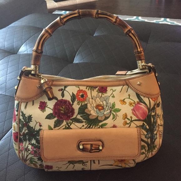 bcf3734fe Gucci Bags | Floral Canvas Print Canvas W Bamboo Hobo Bag | Poshmark