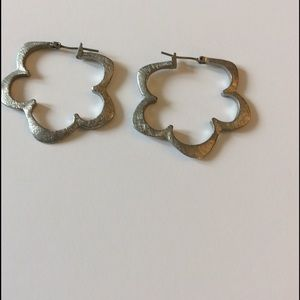 Brushed silver hoop earrings