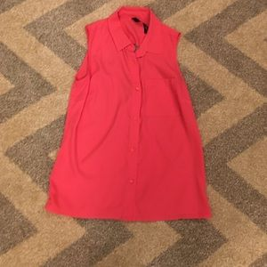 Jessica Simpson Pink Sleeveless Button Down Top
