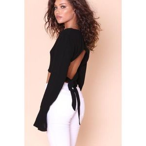 Tops - Black Open Tie Back Bell Sleeve Crop Top
