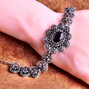 Jewelry - Turkish Vintage Antique Silver Rhinestone Bracelet