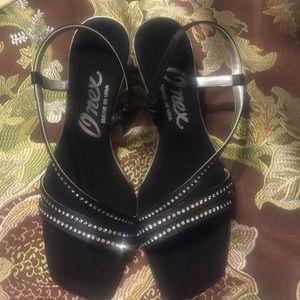 Onex black embellished heels shoes size 35 (5)