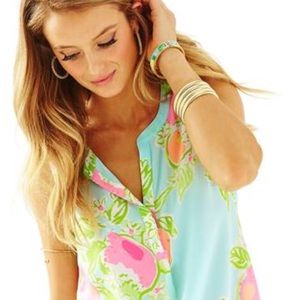 Lilly Pulitzer Sleeveless Stacey 100% Silk Top