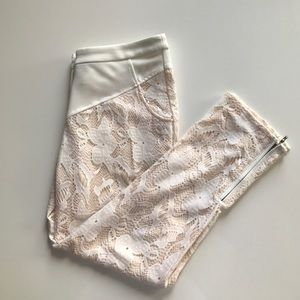 Esley Pants - Esley White & Cream Ankle Lace Pants