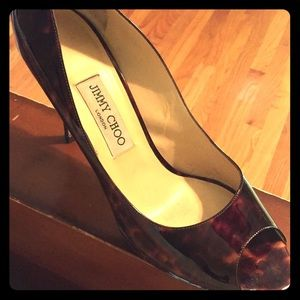 Authentic Jimmy Choo Brown Patent Leather Pump 41
