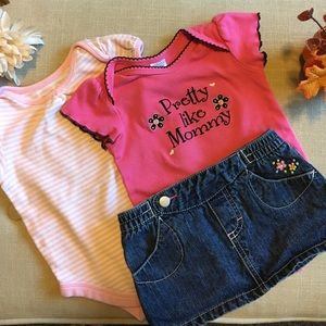 Baby Essentials Other - Jean Skirt and Bodysuit Baby Bundle (3 Pieces)