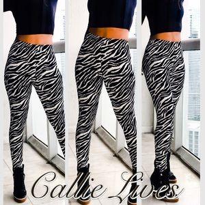 Plus Size Black White Zebra Leggings 2X