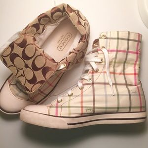 ✨Plaid high top COACH sneakers✨