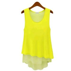 Tops - Two-Toned Yellow Chiffon Tank Top