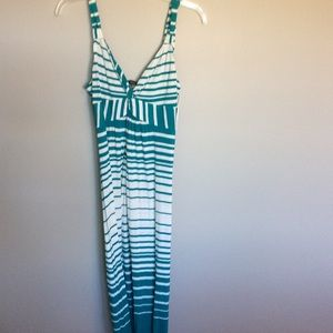 Green and white maxi dress
