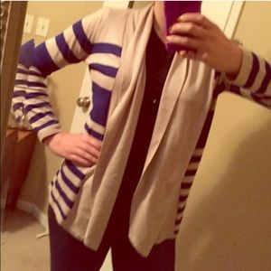 Sweaters - Beige and blue cardigan