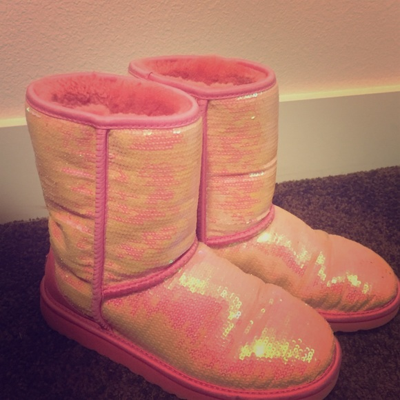 Pink sparkle UGG boots size 9